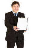 Businessman with documents and pen for signing Royalty Free Stock Images
