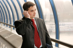 Businessman with documents on phone. Businessman with documents talking on phone stock photo