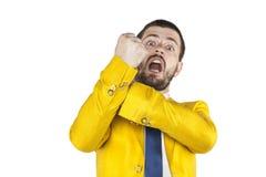 Businessman does gesture kozakiewicza Royalty Free Stock Photography