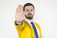 Businessman does gesture stop Royalty Free Stock Images