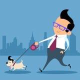 Businessman dog walk office worker. Businessman walking a dog pet office worker Stock Image
