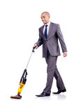 Businessman doing  cleaning on white Royalty Free Stock Images
