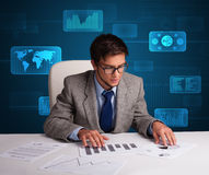 Businessman doing paperwork with digital background Stock Photography