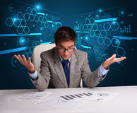 Businessman doing paperwork with futuristic backgroung Stock Photos