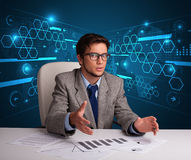Businessman doing paperwork with futuristic backgroung Stock Image