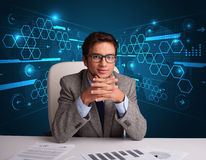 Businessman doing paperwork with futuristic backgroung Royalty Free Stock Photo