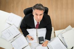 Businessman doing paperwork Stock Photos