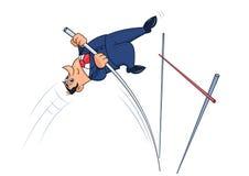Businessman doing the pole vault 2 Stock Photos