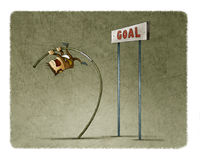 Businessman doing pole vaulting for jumping the goal. Stock Image