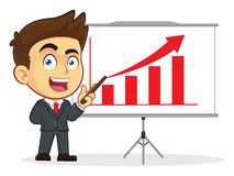 Businessman Doing a Presentation. Clipart Picture of a Male Businessman Cartoon Character Doing a Presentation Royalty Free Stock Image