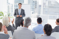 Businessman doing speech during meeting Royalty Free Stock Photo