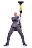 Businessman doing  cleaning on white Royalty Free Stock Photos