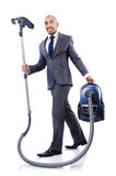 Businessman doing vacuum cleaning Stock Photography