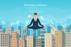 Businessman doing yoga in lotus pose Royalty Free Stock Photos