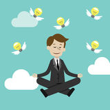 Businessman doing yoga in lotus pose. Businessman sitting and meditating.Making ideas. Vector illustration Stock Photography