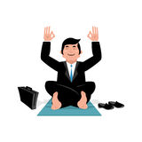 Businessman doing yoga. Man in suit sitting in lotus position. M Stock Photography