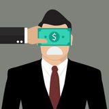 Businessman with dollar banknote taped to eyes Stock Photos