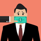 Businessman with dollar banknote taped to mouth Stock Photos