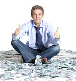 Businessman and dollar banknotes Royalty Free Stock Photos
