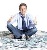 Businessman and dollar banknotes Royalty Free Stock Photos