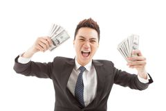 Businessman with dollar bills Royalty Free Stock Photography