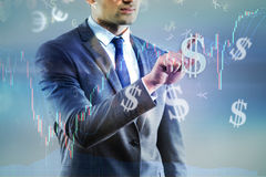 The businessman and dollar in business concept Royalty Free Stock Images