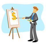 Businessman with dollar drawing Stock Images