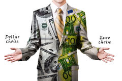 Businessman in dollar and euro suit Royalty Free Stock Photography