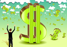 Businessman with dollar green sign. Businessman in black suit with dollar green sign Royalty Free Stock Photography