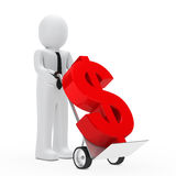 Businessman dollar hand truck Stock Image