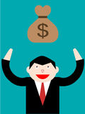 Businessman and dollar money bag Royalty Free Stock Photography