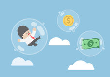 Businessman and dollar money floating in bubbles. Financial crisis concept, VECTOR, EPS10 Royalty Free Stock Images