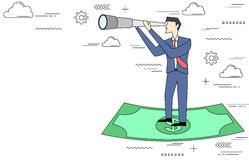 Businessman on dollar note with telescope Stock Photos