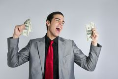 Businessman with dollar notes suit and tie Stock Photo
