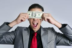Businessman with dollar notes suit and tie Stock Photography