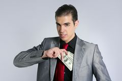 Businessman with dollar notes suit and tie Stock Image