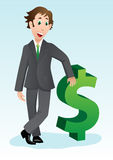 Businessman with dollar sign. Young and successful businessman cartoon with dollar sign Stock Photography