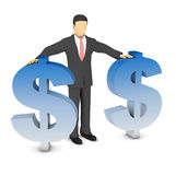 Businessman and dollar sign. This is a computer generated and 3d rendered picture Stock Image
