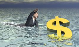 Businessman and dollar sinking - 3D render Stock Photo
