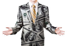 Businessman in dollar suit Stock Images