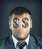 Businessman with dollar symbols. Portrait of faceless businessman with dollar symbols instead of eyes Stock Images