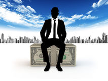 Businessman and dollars royalty free stock photo