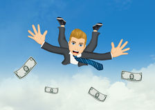 Businessman with dollars jump Stock Image
