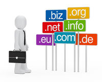 Businessman domain signboards. Businessman with briefcase stand next domain signboards Stock Image