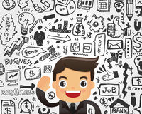 Businessman and doodle business element background Royalty Free Stock Images