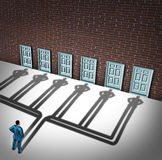 Businessman Door Choice. Concept as a person deciding to choose the right doorway with a cast shadow of multiple people from a group of entrance possibilities Stock Photos