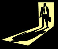 Businessman in doorway. Illustration of businessman with briefcase standing in doorway Stock Photography
