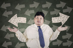 Businessman doubt to choose a solution Stock Photos