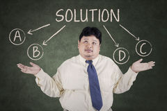 Businessman doubt to choose a solution 1 Stock Photos