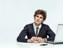 Businessman with doubtful expression Royalty Free Stock Photos